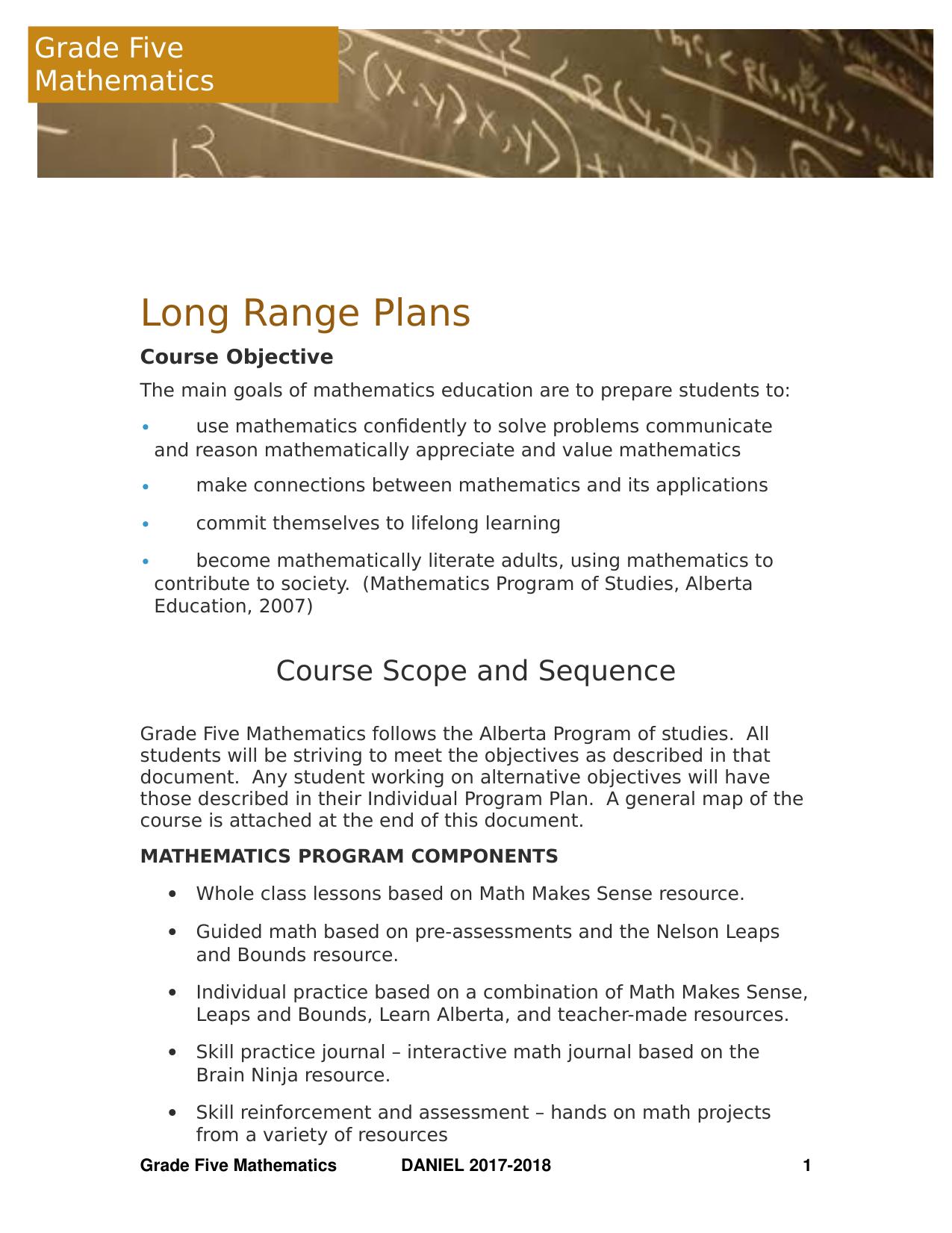 Math 5 Long Range Plan Resource Preview