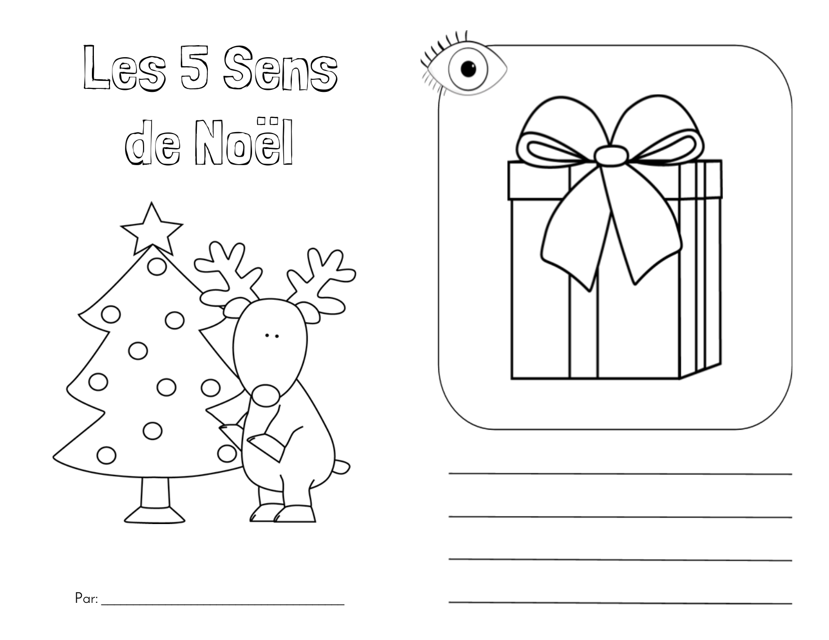 The 5 Senses of Christmas Booklet French and English Resource Preview