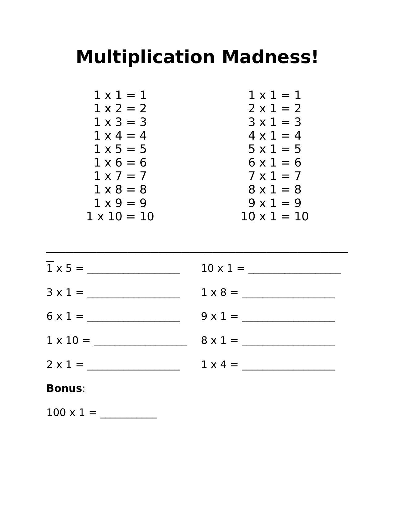 Multiplication Madness 1 Resource Preview