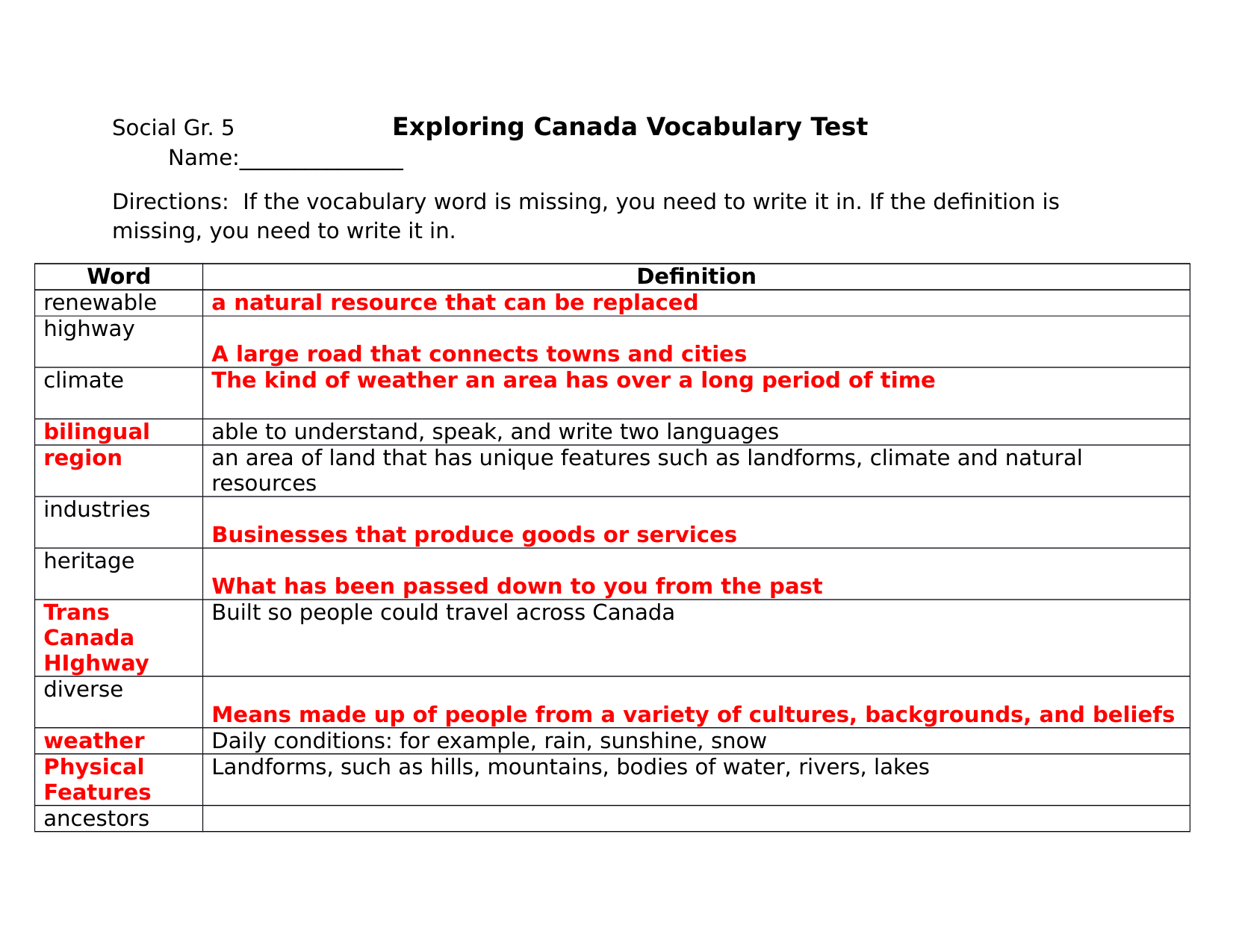 Unit 1 Exploring Canada Vocabulary Test ANSWER KEY Resource Preview