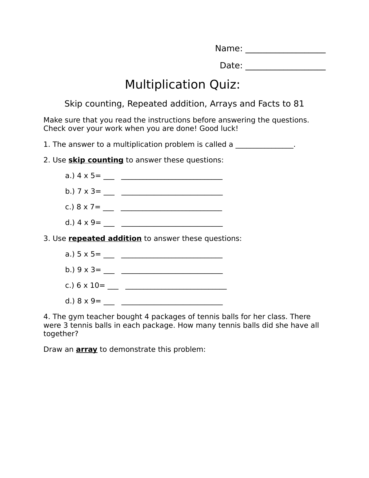 Multiplication Quiz Resource Preview