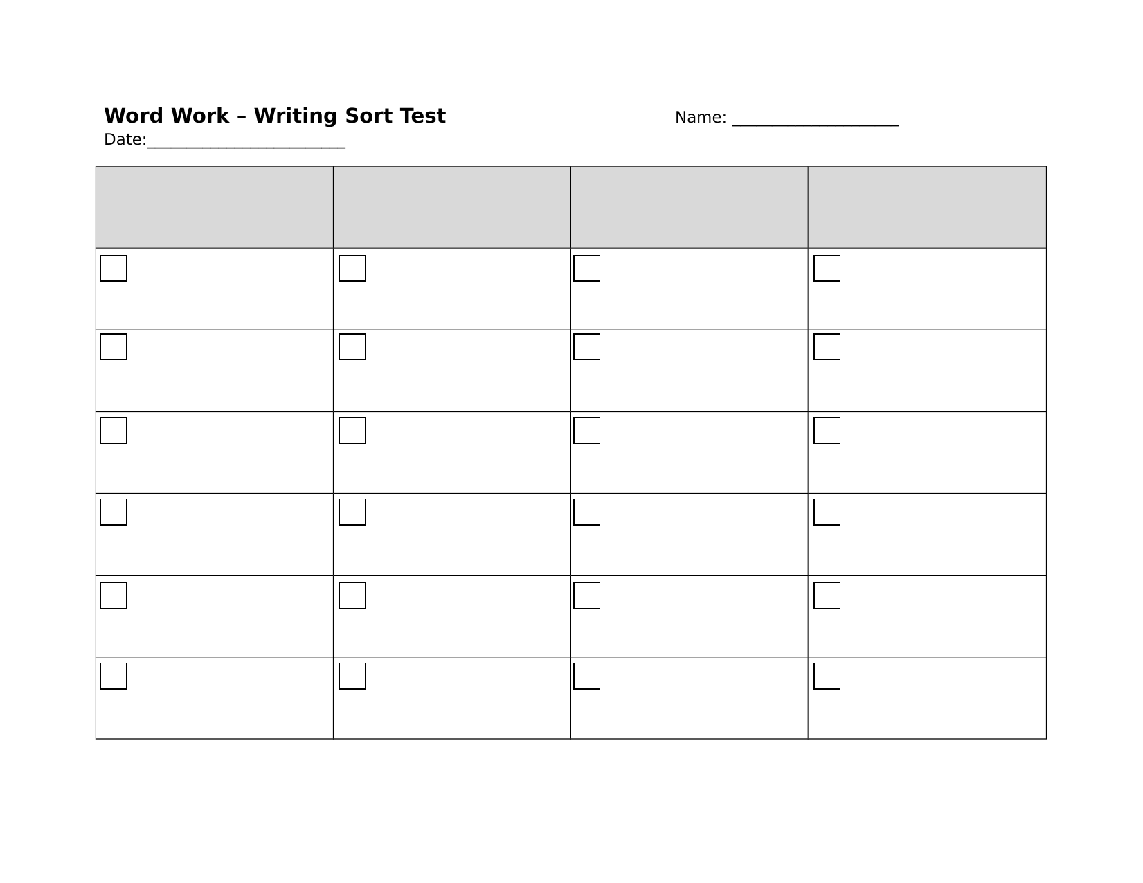 Words Their Way test sheet  4 columns Resource Preview