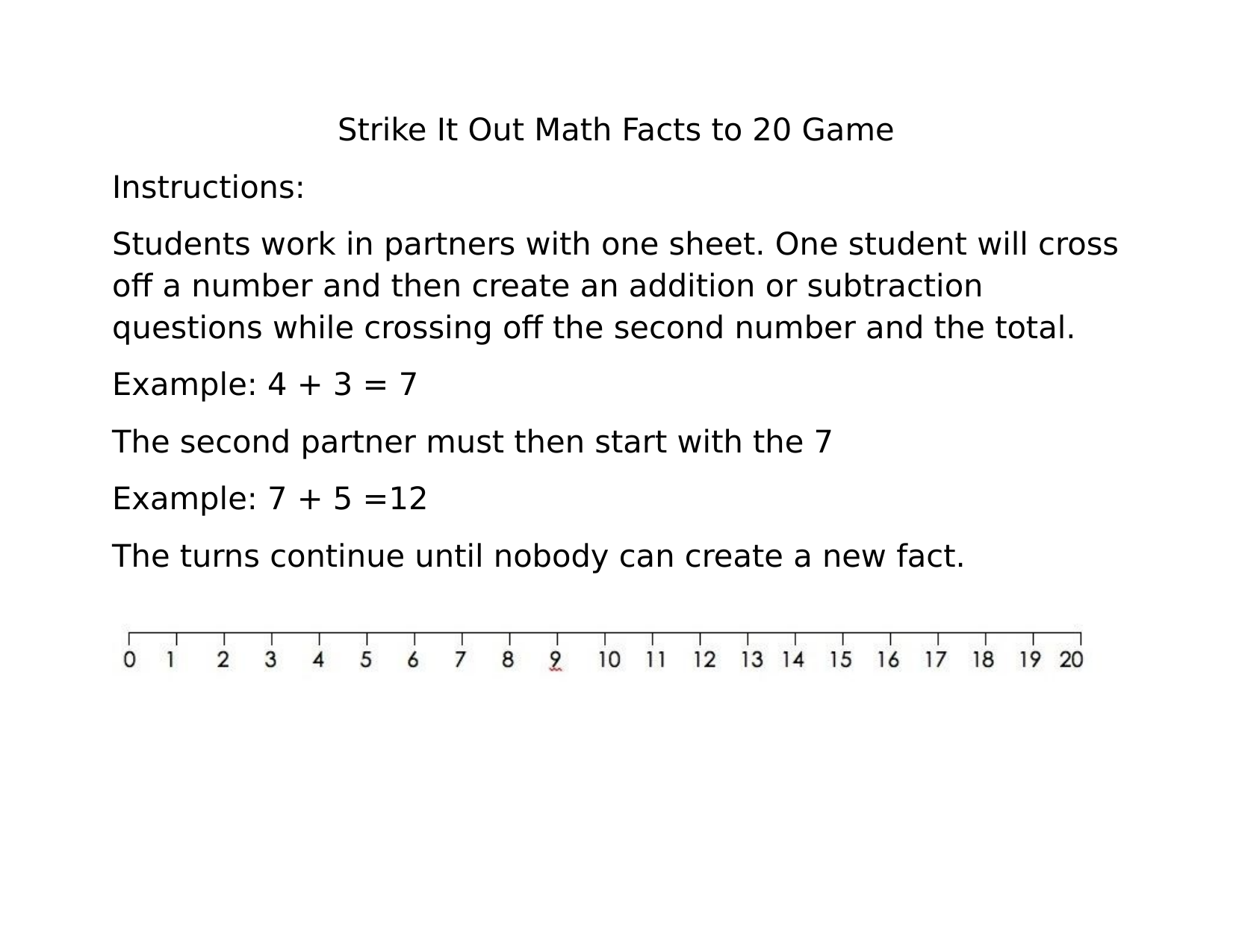 Strike It Out Basic Facts Game Resource Preview