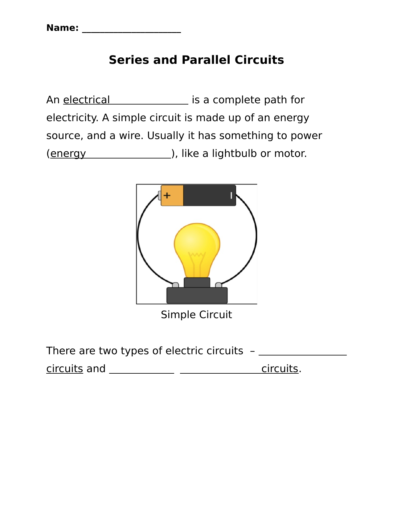 Series and Parallel Circuits worksheet Resource Preview