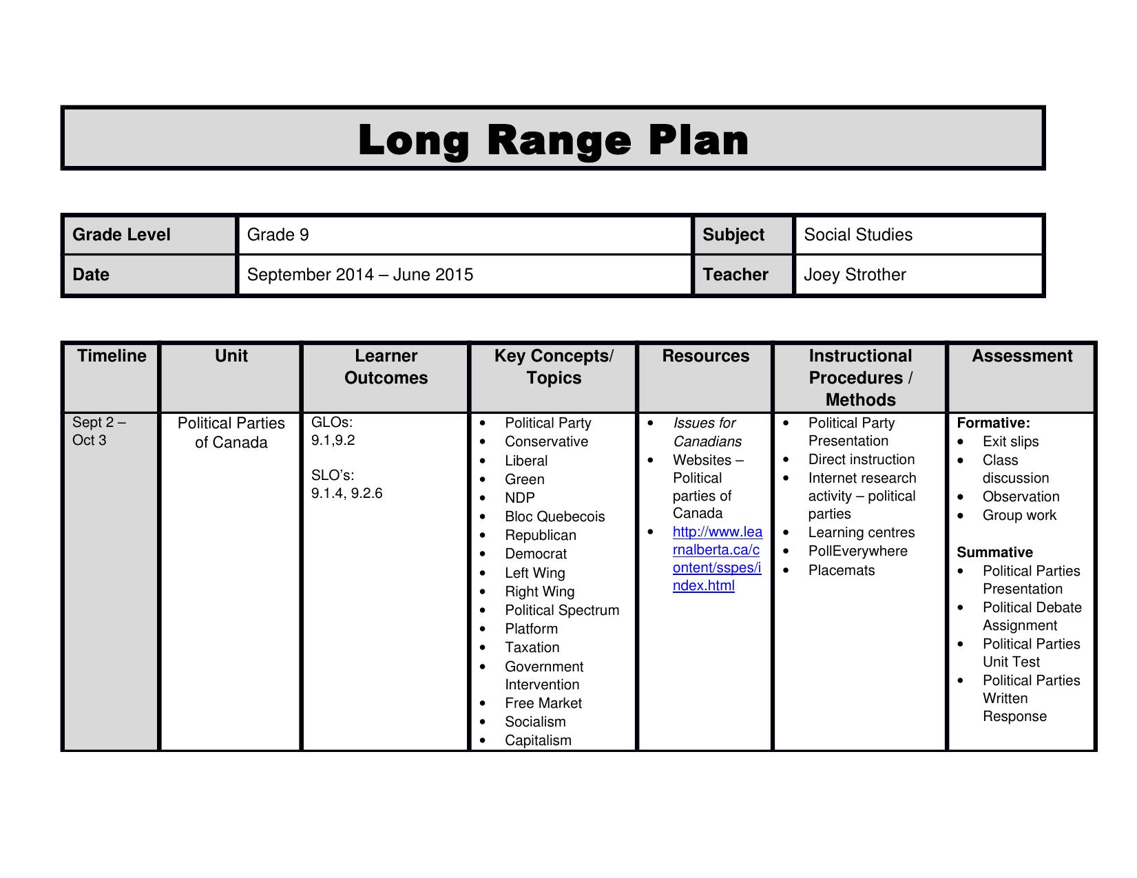 Social Studies 9 Long Range Plan Resource Preview