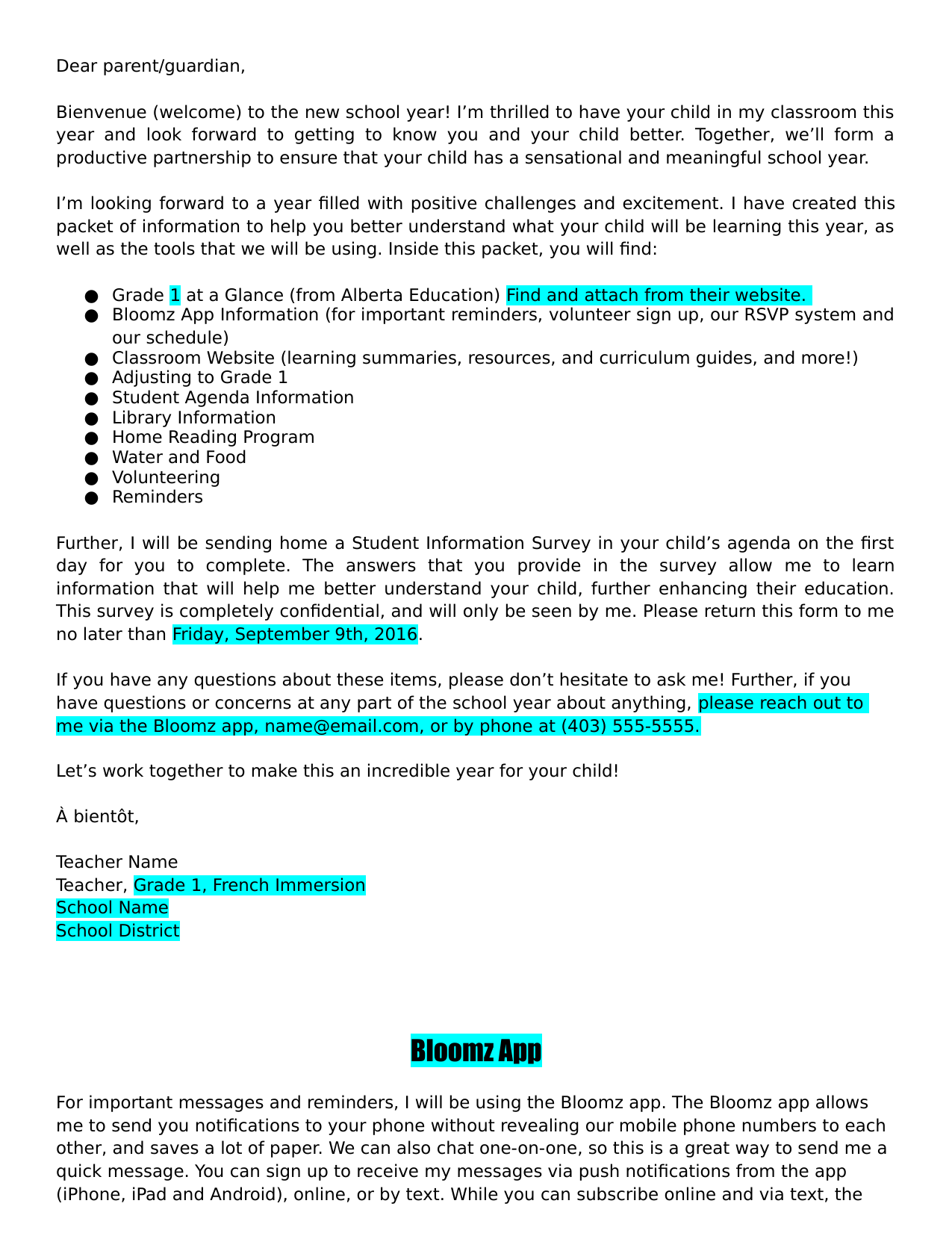 Parent Welcome Letter Resource Preview