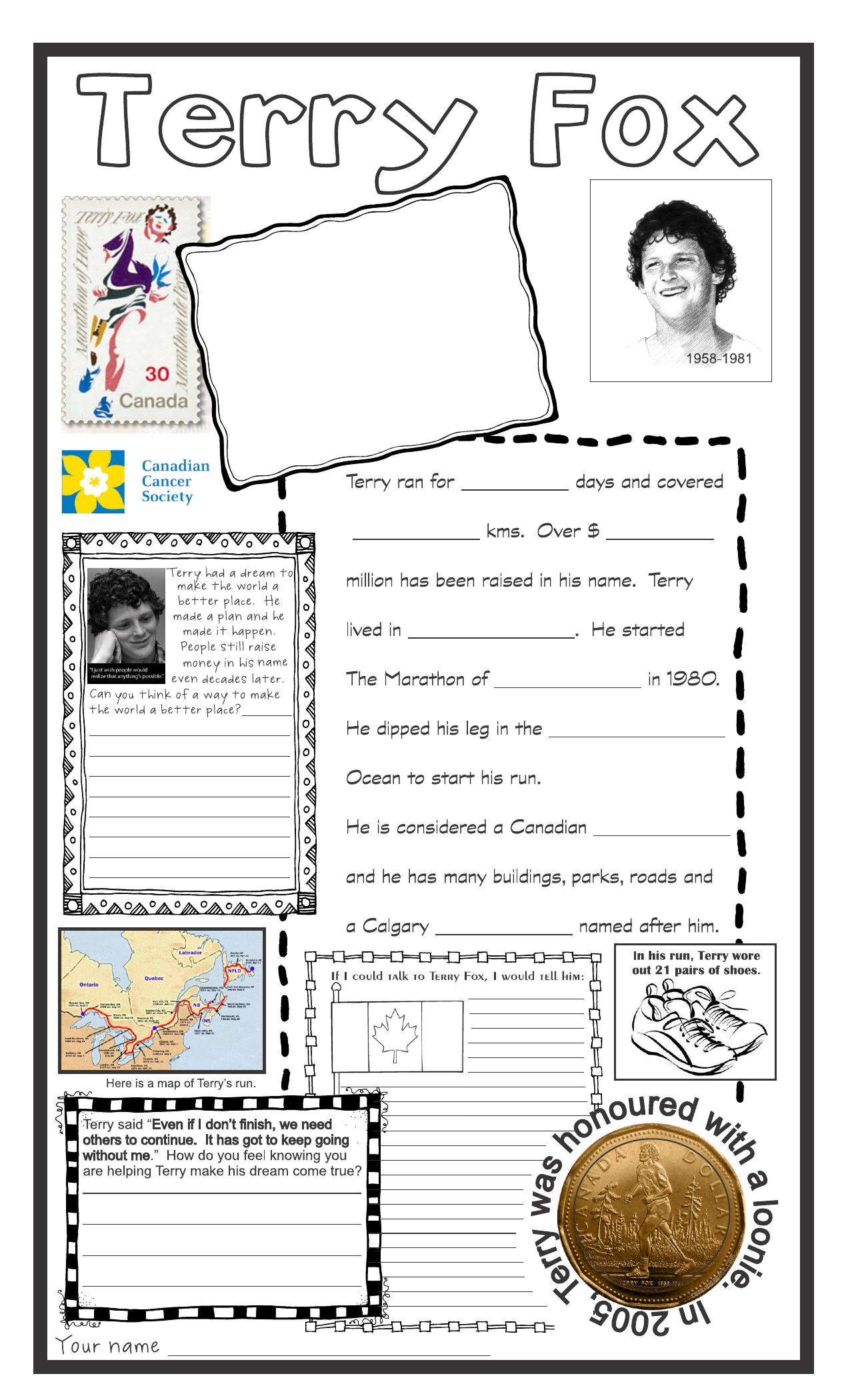 Terry Fox Activity Page Resource Preview