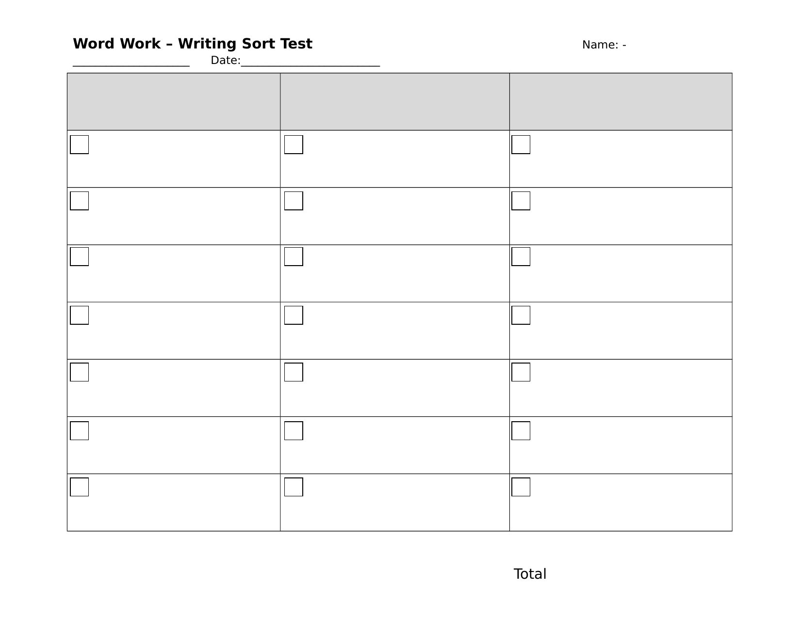Words Their Way test sheet 3 columns Resource Preview