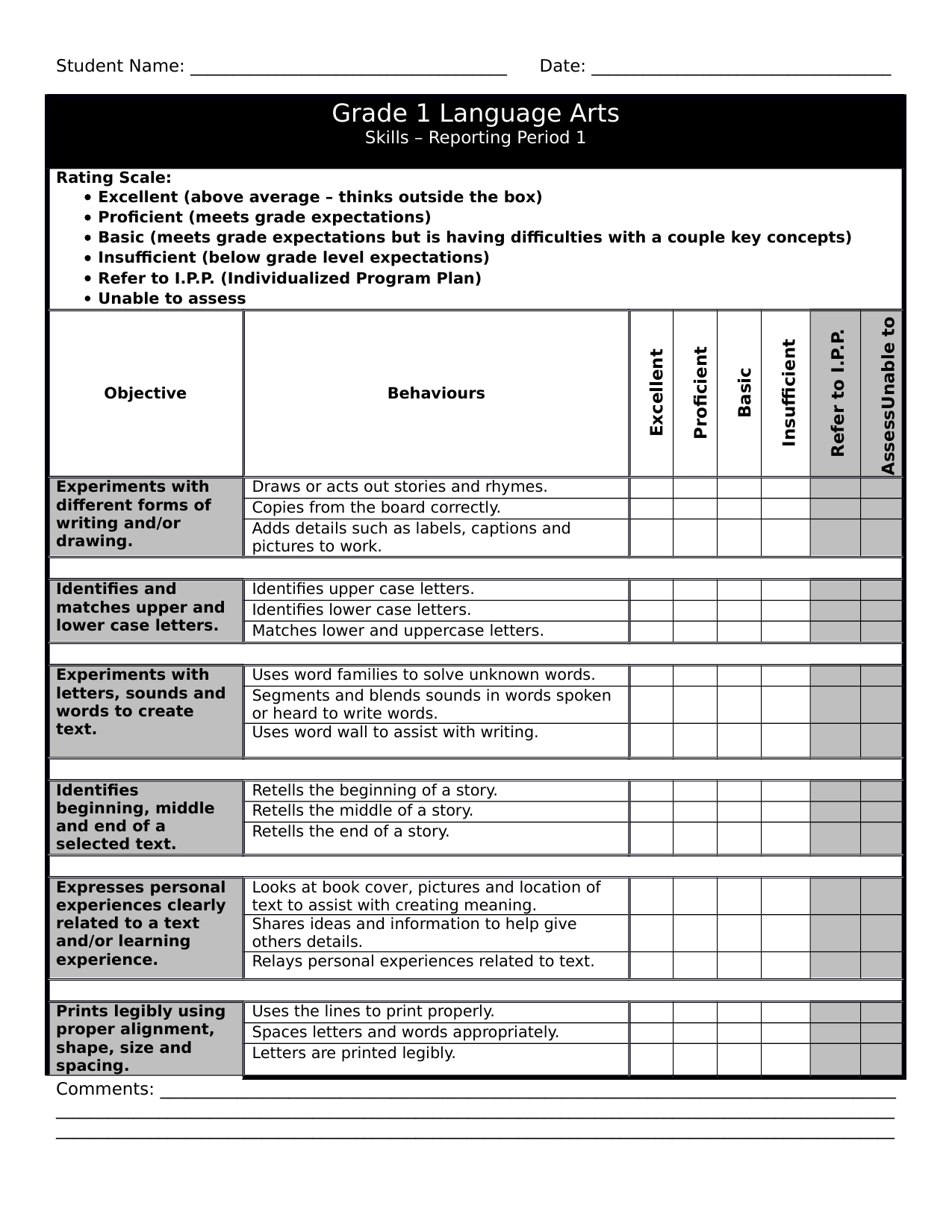 Gr 1 LA Checklist 1 Resource Preview