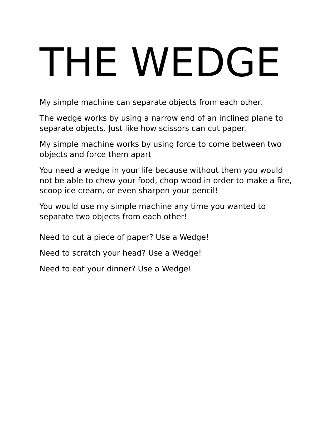 Wedges Information Poster Resource Preview