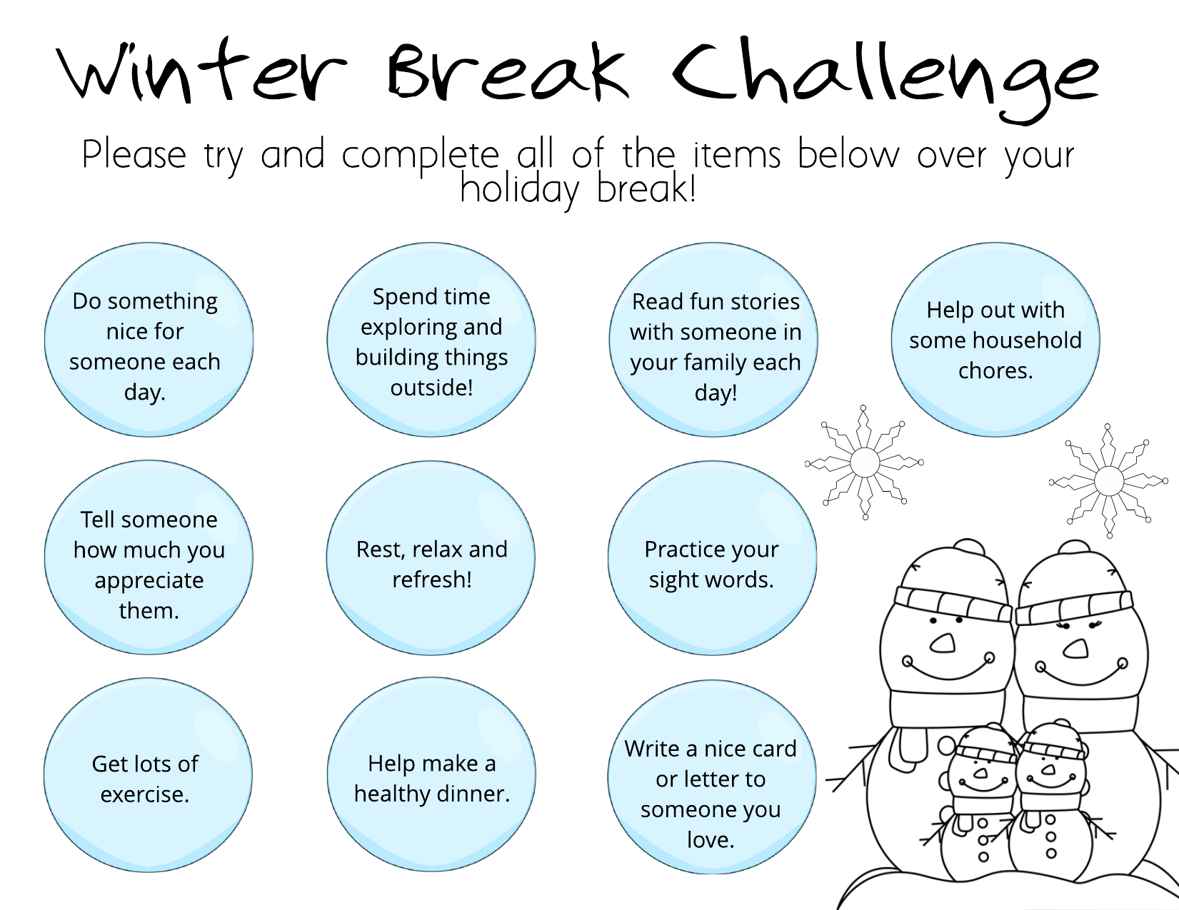 Winter Break Challenge Resource Preview