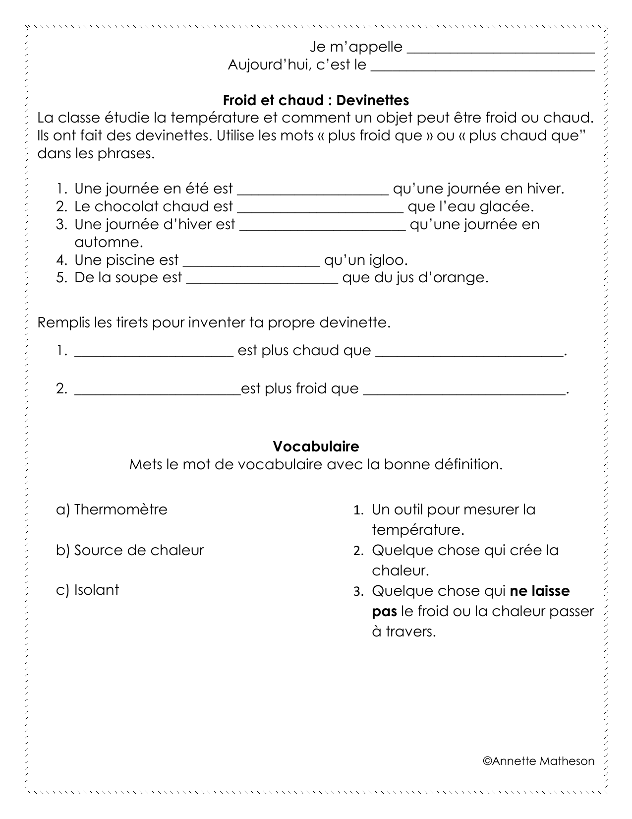 Un quiz pour le module de chaud et froid Resource Preview