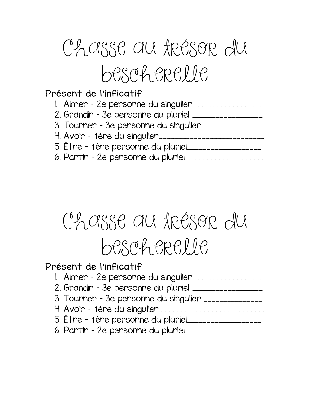 Chasse au tresor du bescherelle Resource Preview