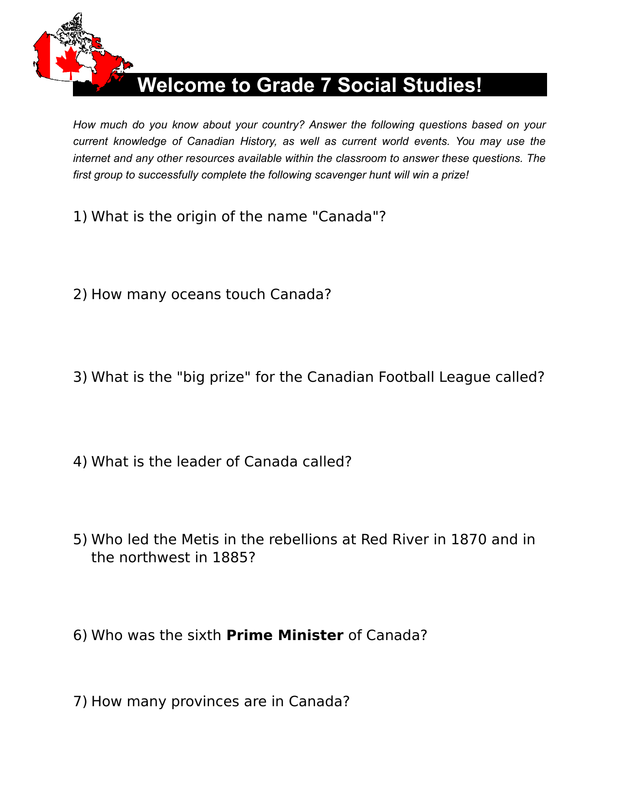 Canadian History Scavenger Hunt Resource Preview