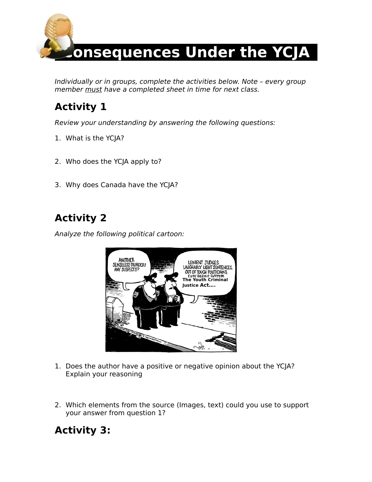 Consequences of the YCJA Activity Resource Preview
