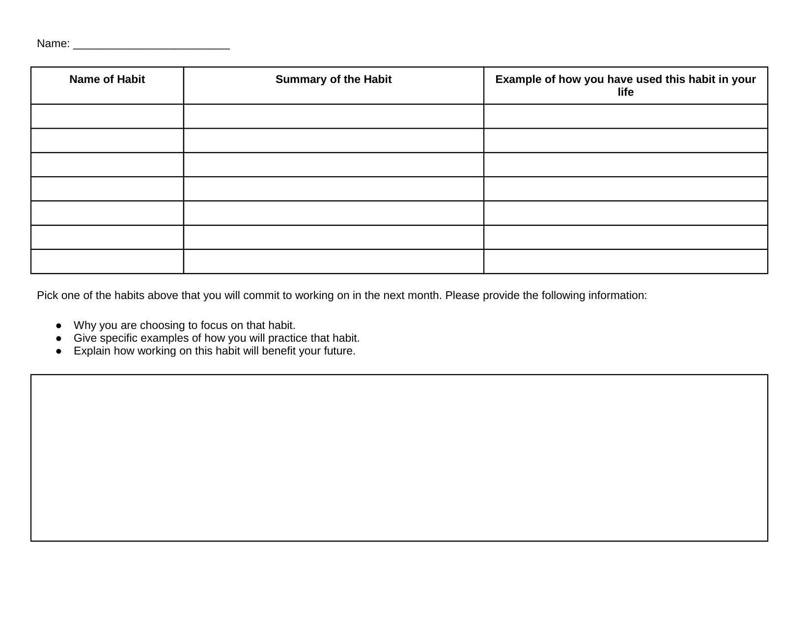 Leader in Me Student Commitment Activity Resource Preview