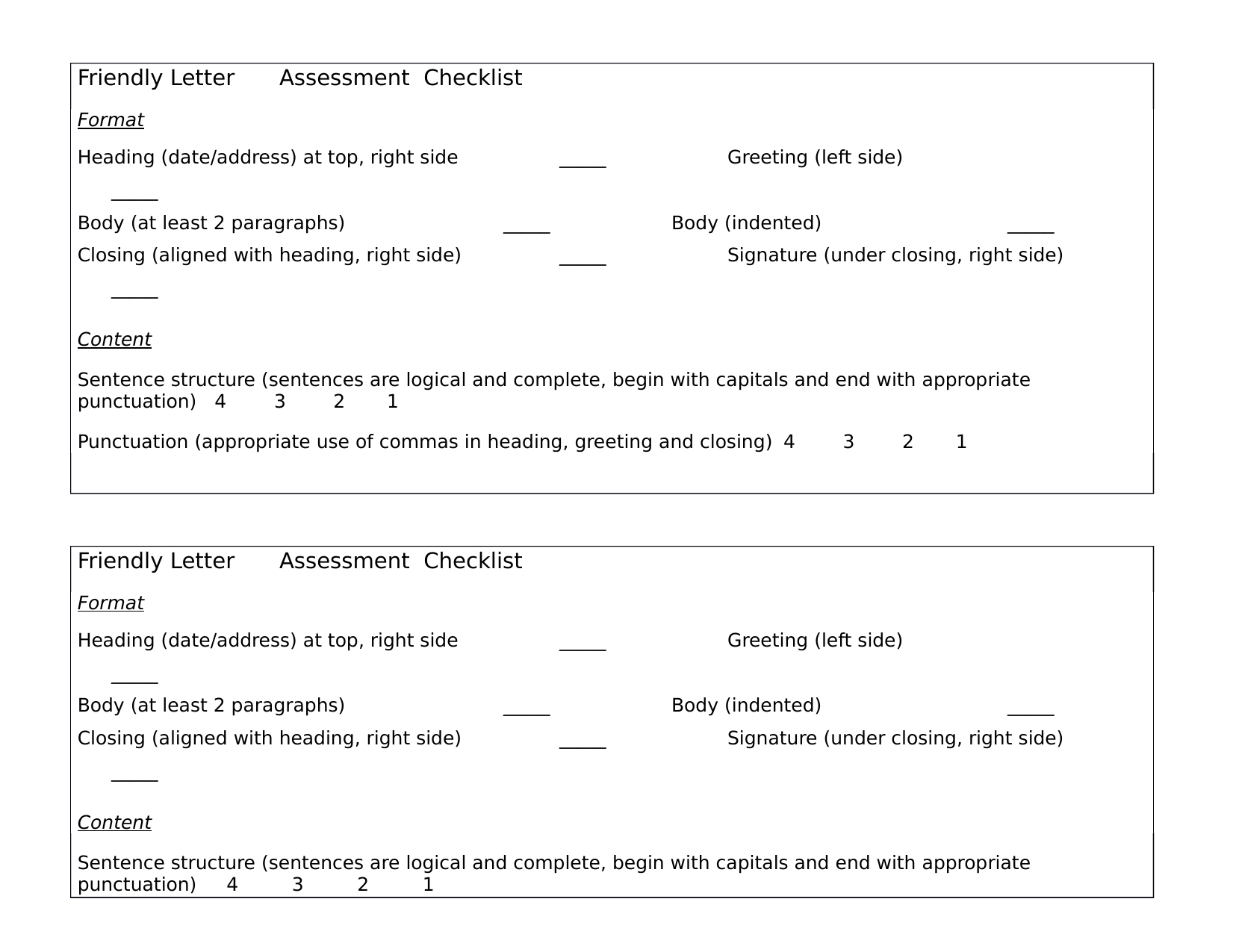 Friendly letter assessment  Resource Preview