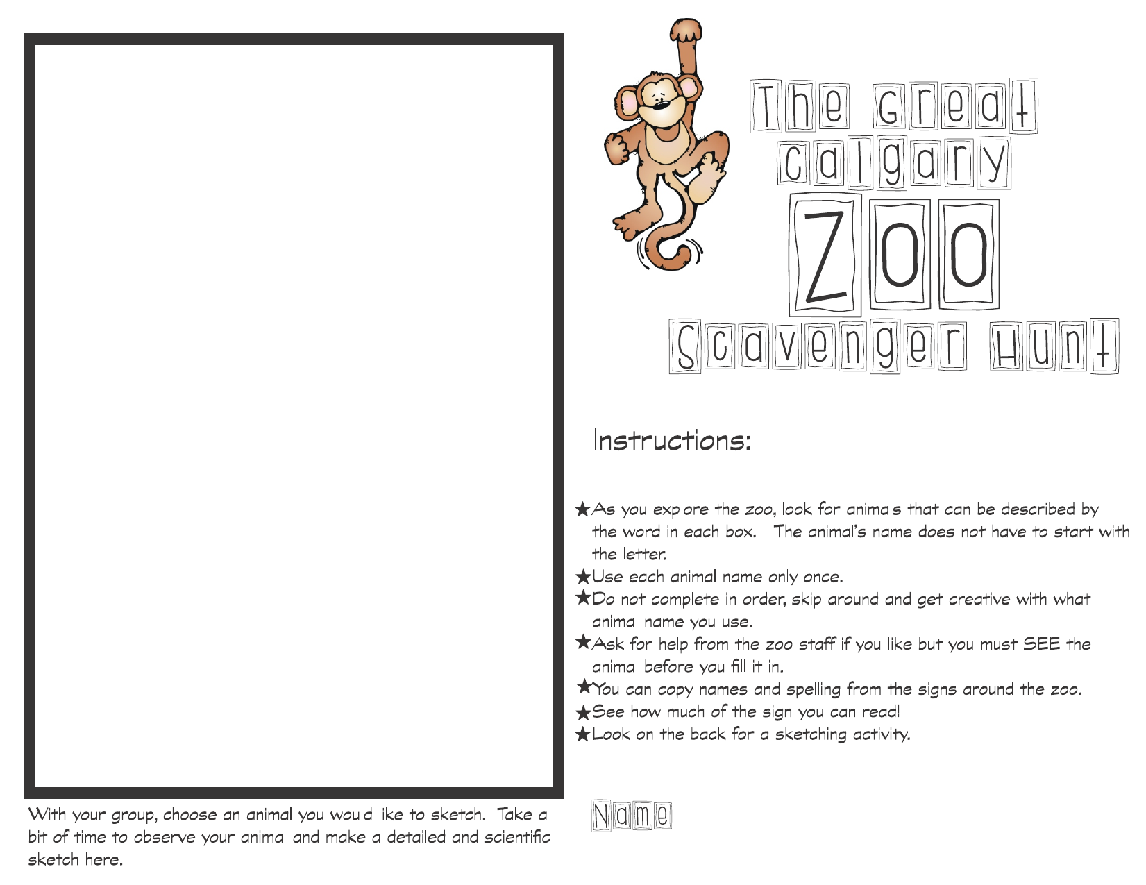 Calgary Zoo Scavenger Hunt Resource Preview