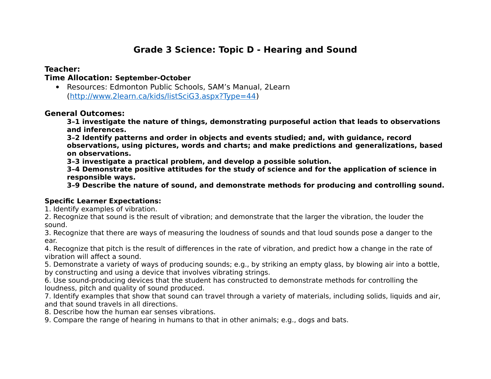 Hearing and Sound Unit Plan Resource Preview