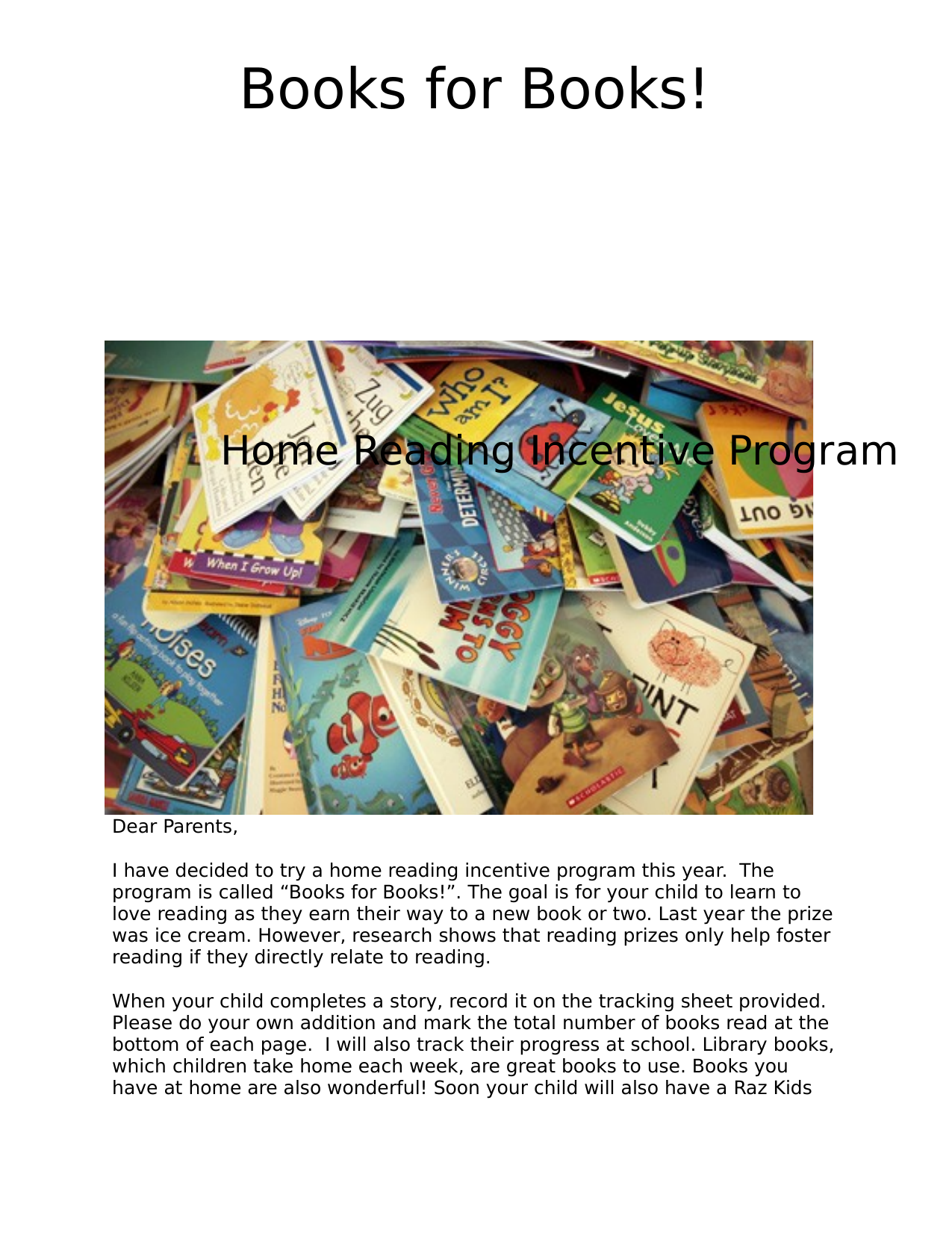 Books for Books Home Reading Incentive Program Resource Preview
