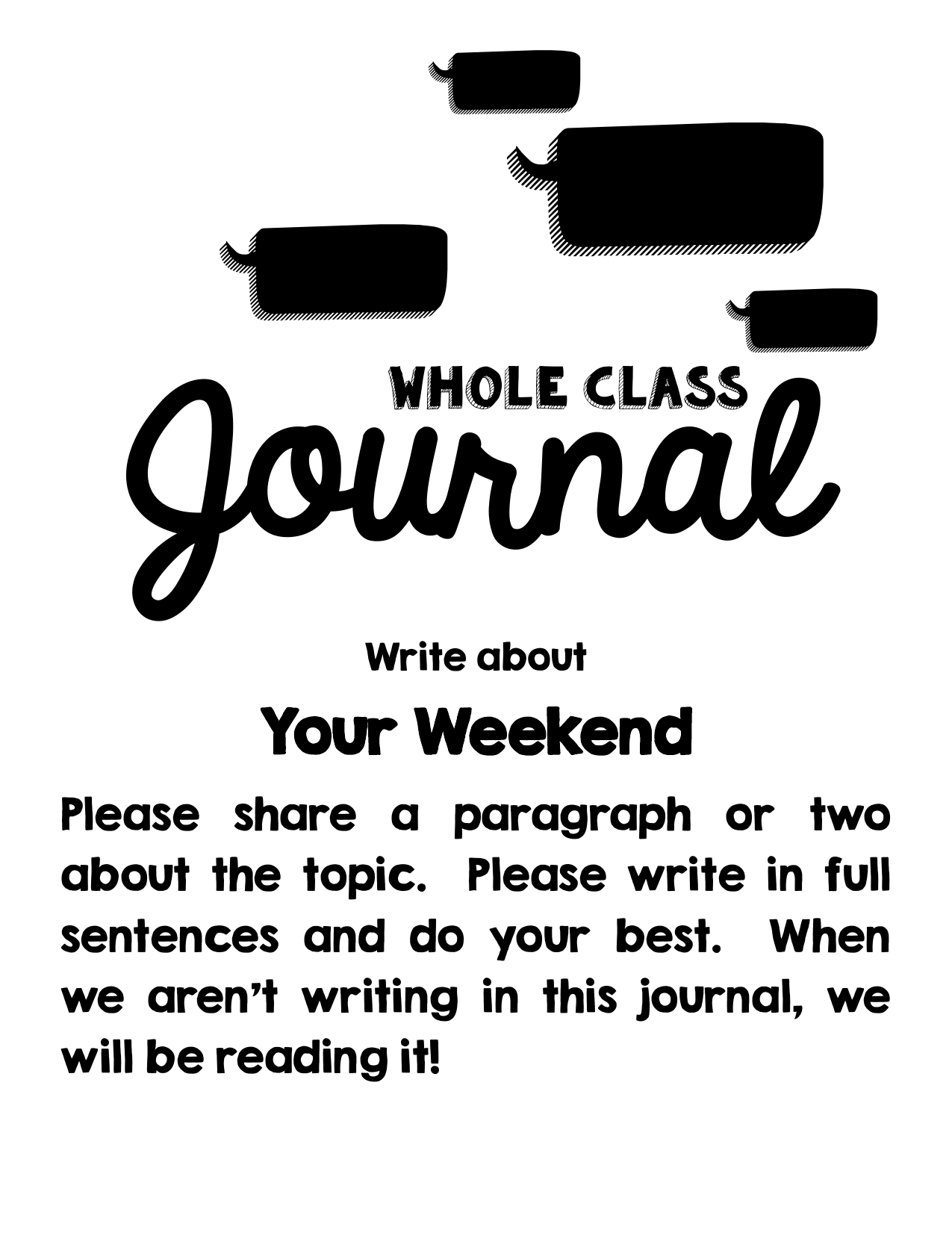 Whole Class Journals Resource Preview