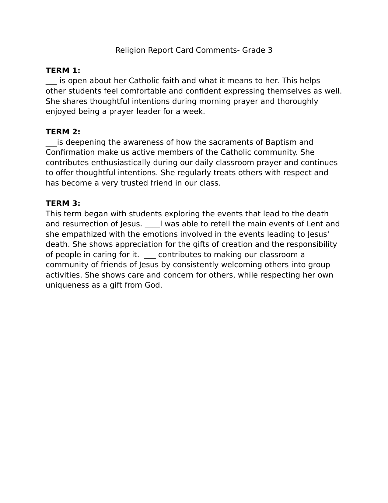 Religion Report Card Comments Resource Preview
