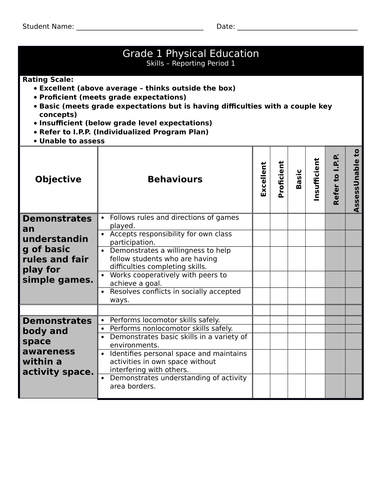 Gr 1 PE Checklist 1 Resource Preview