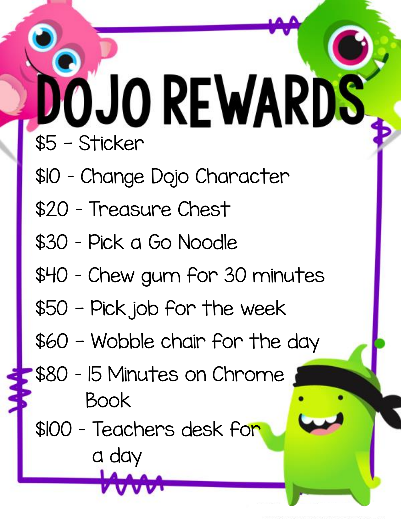 Class Dojo Reward Chart and Money Resource Preview