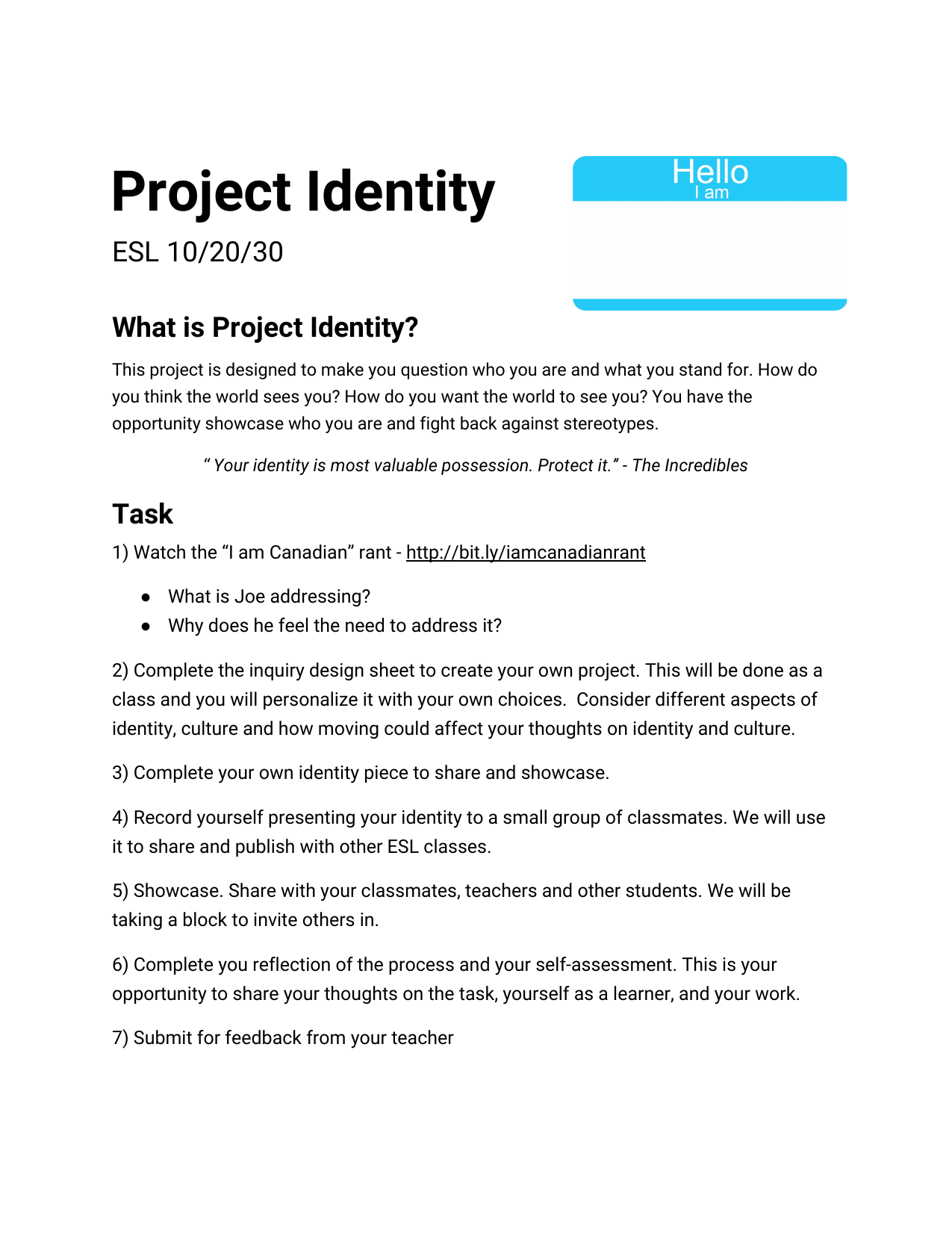 Project Identity  Resource Preview