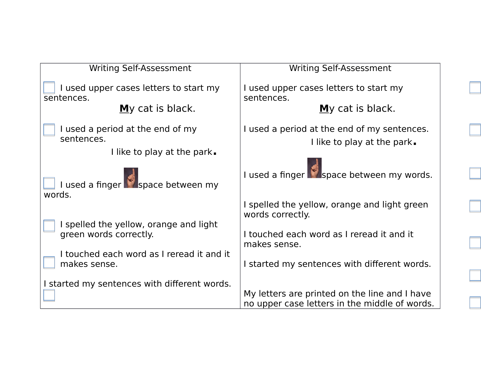 Writing Self Assessment Checklist Resource Preview