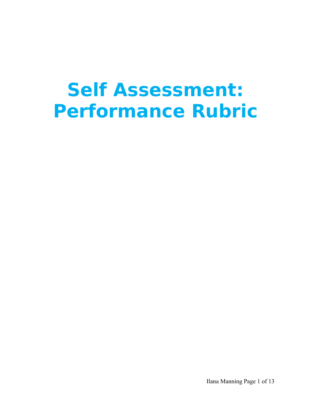 Self Assessment Performance Rubric Resource Preview