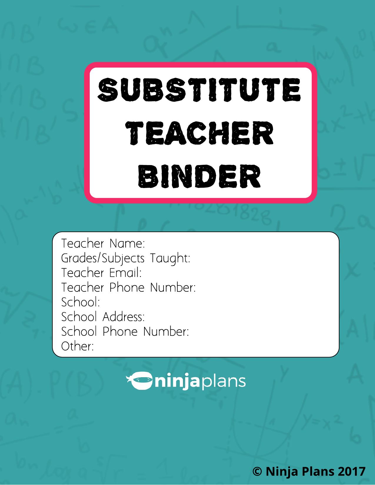 Substitute Teacher Binder Resource Preview