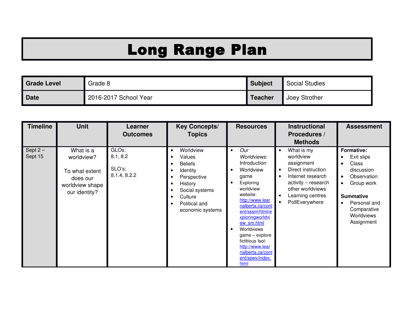 Social Studies 8 Long Range Plan Resource Preview