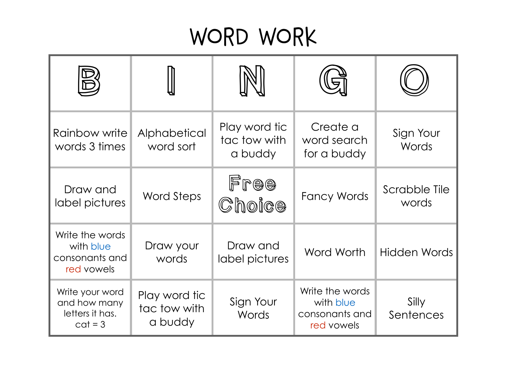 Daily 5 Word Work Bingo Resource Preview