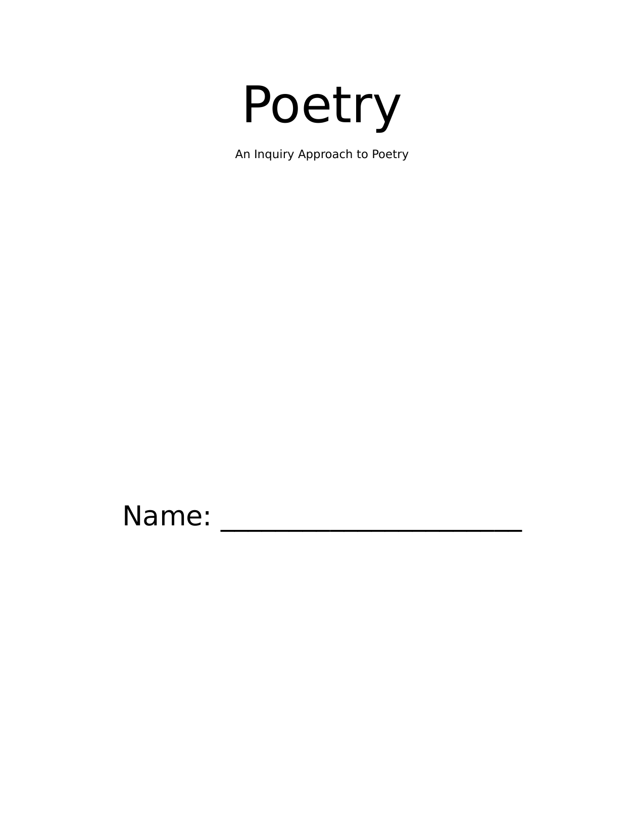 PBL Poetry Booklet Resource Preview