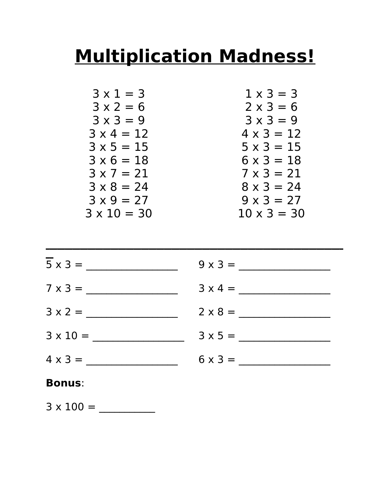 Multiplication Madness 3 Resource Preview
