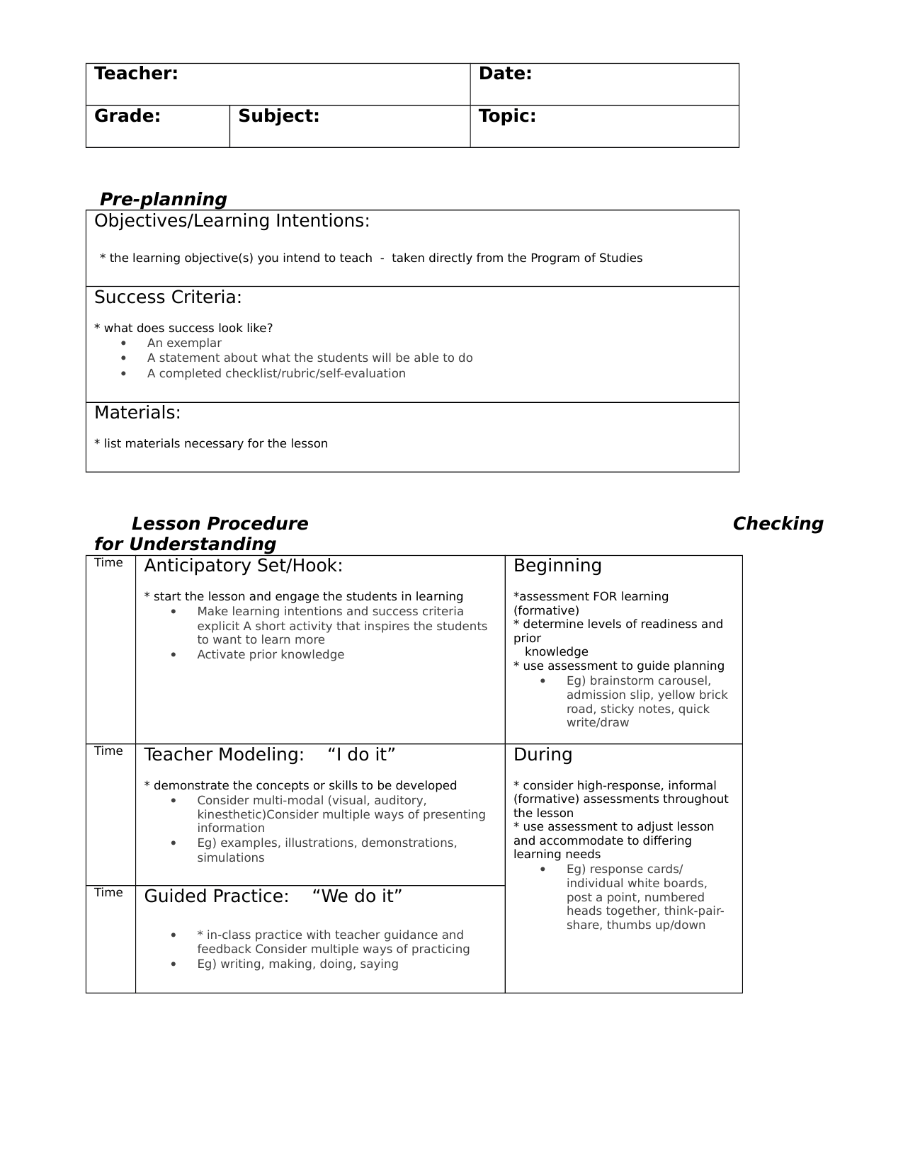 Lesson Plan Template Resource Preview