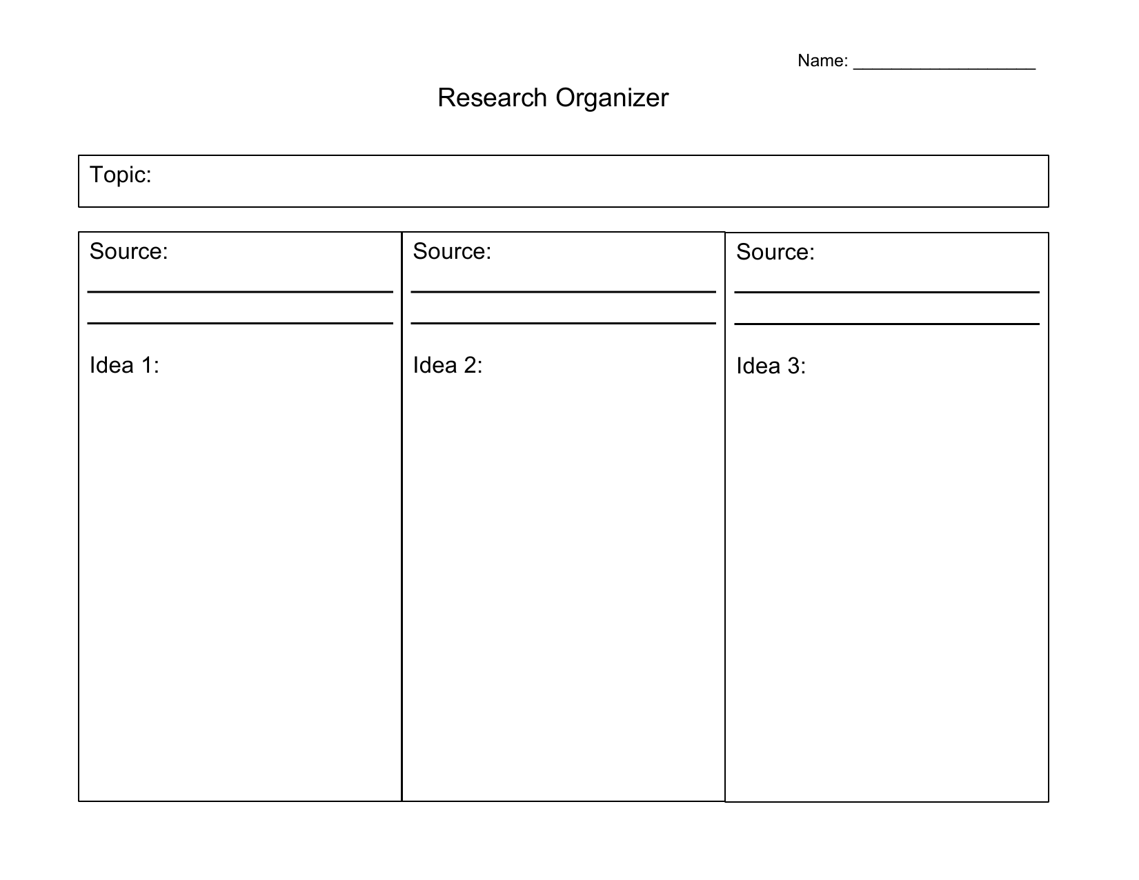 Research Organizer Resource Preview