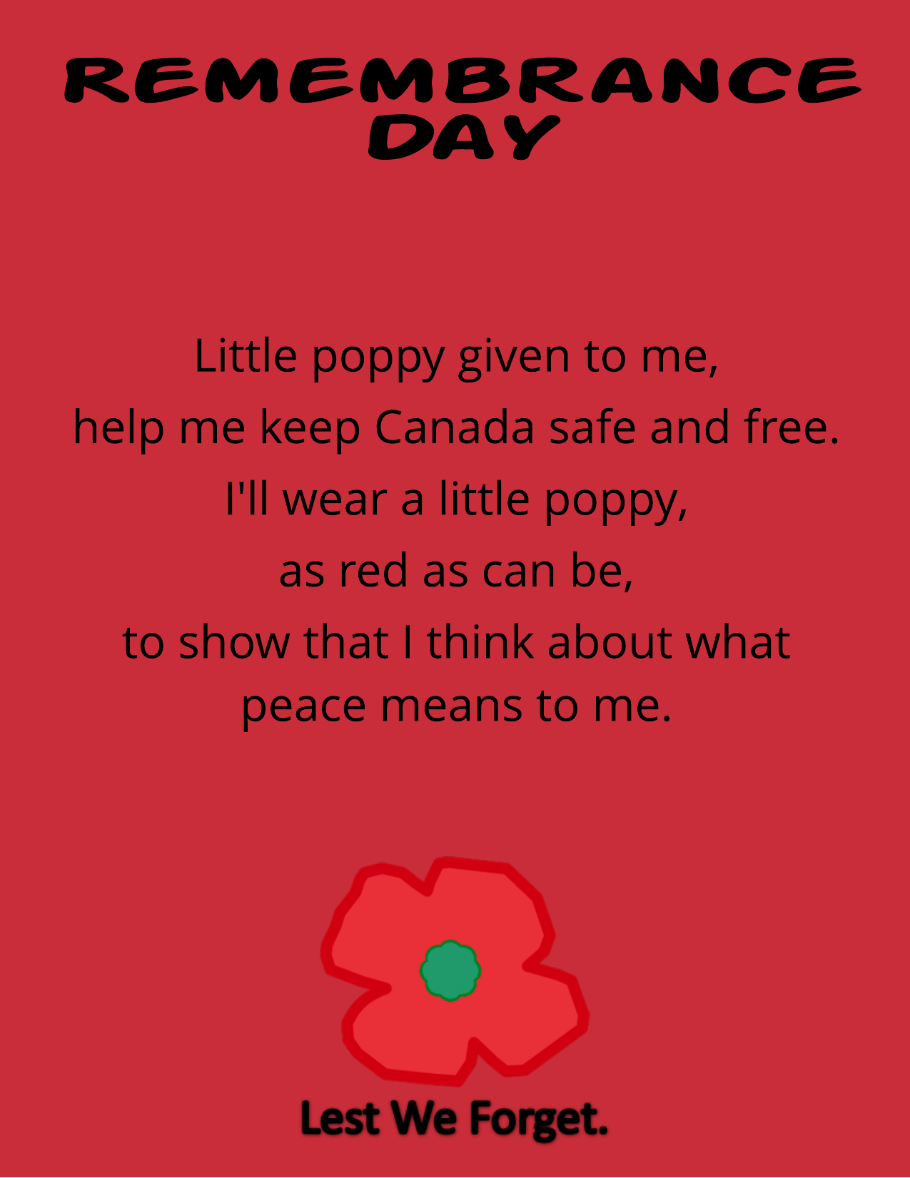 Remembrance Day Poem and Poster English and French Resource Preview