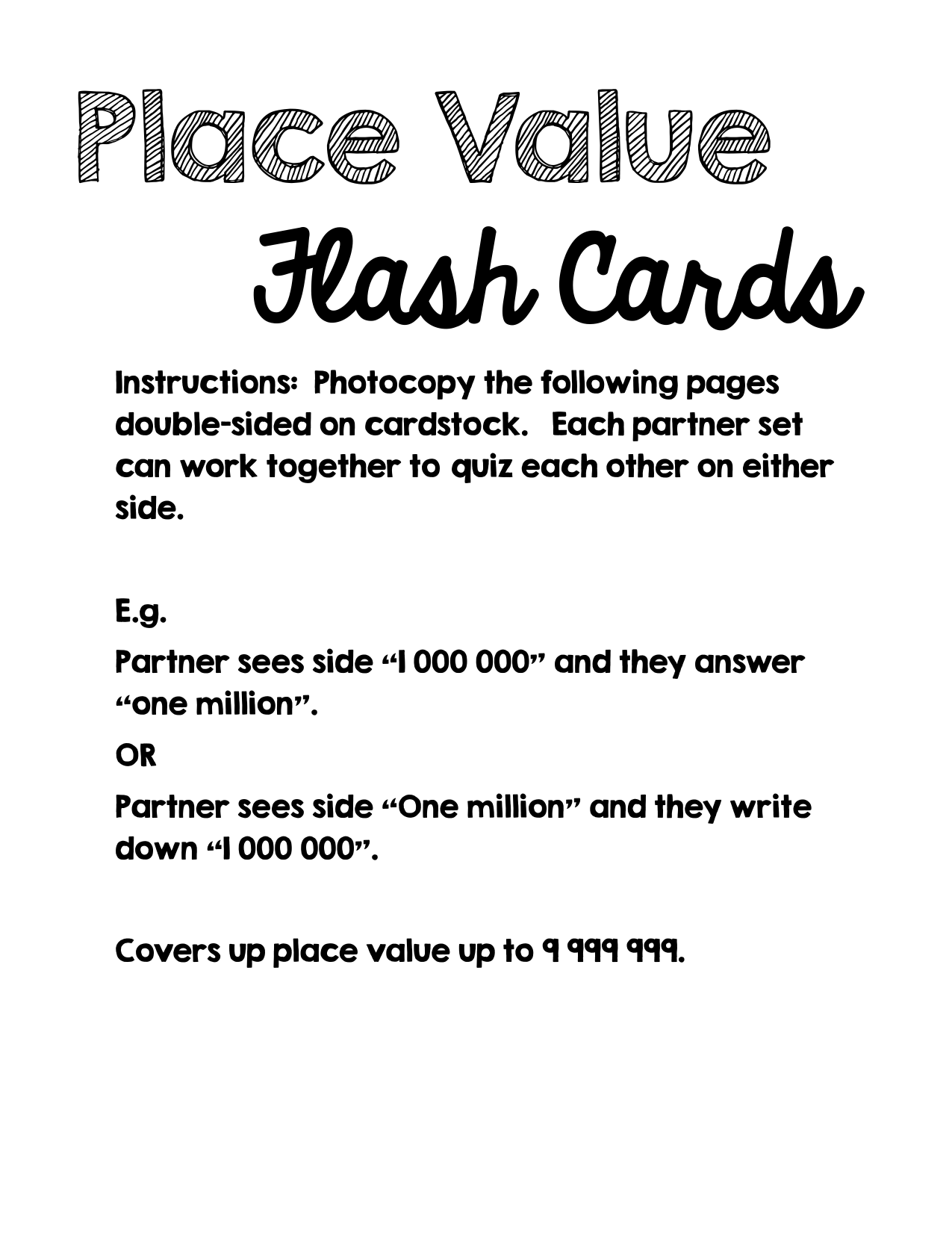Place Value Flash Cards  Resource Preview