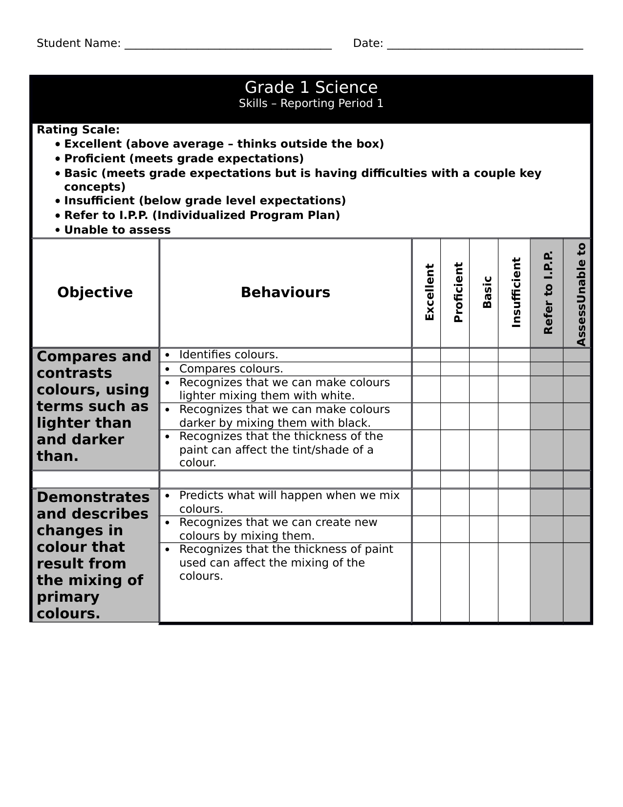 Gr 1 Science Checklist 1 Resource Preview