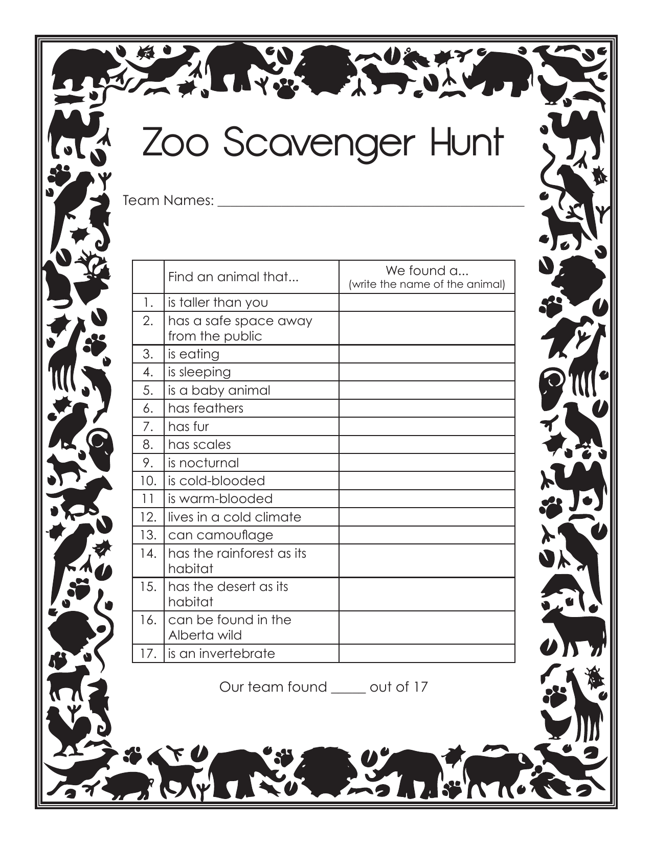 Zoo Field Trip Scavenger Hunt by abuckley · Ninja Plans