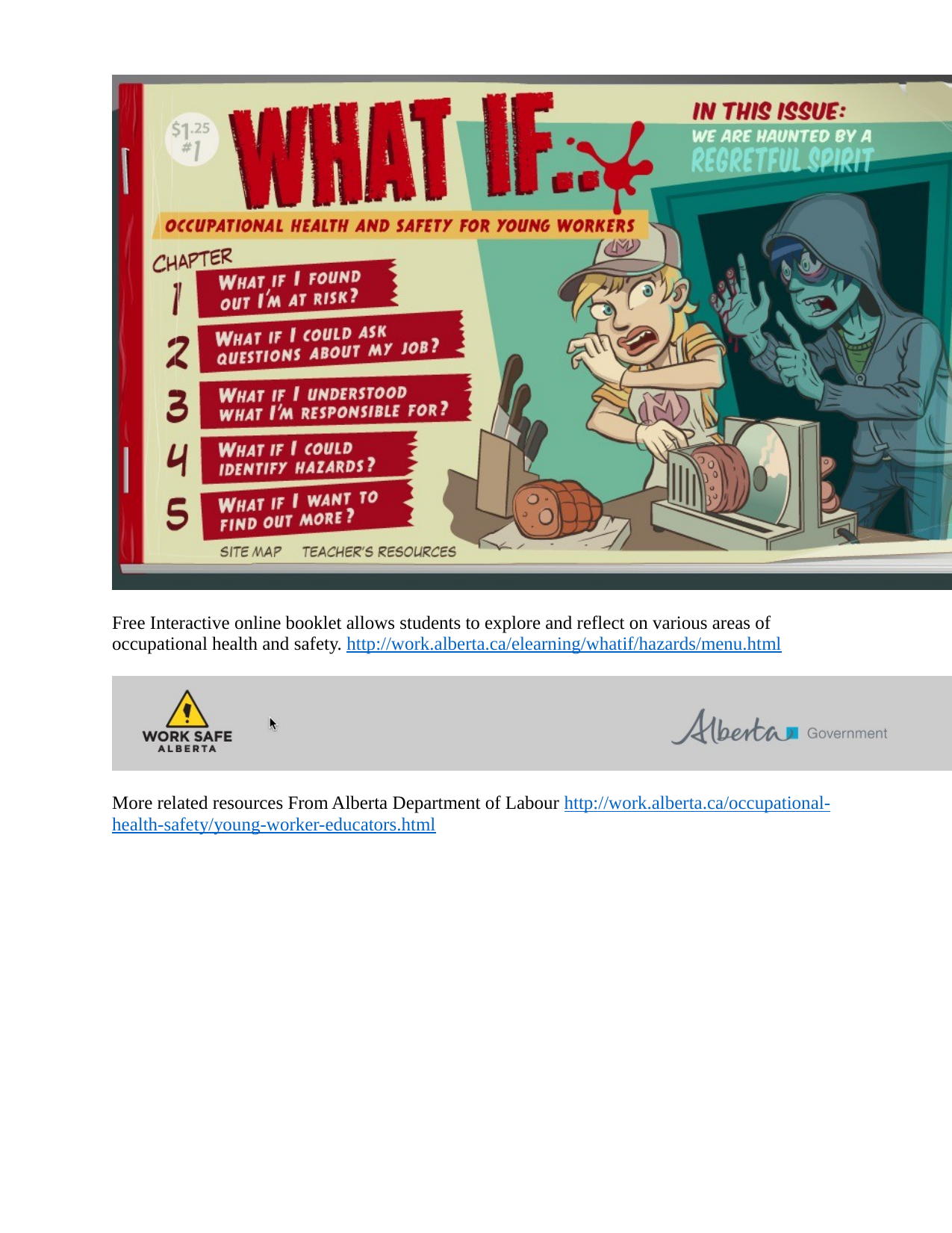 Free Interactive online booklet from AB Dept of Labour on occupational health and safety Resource Preview