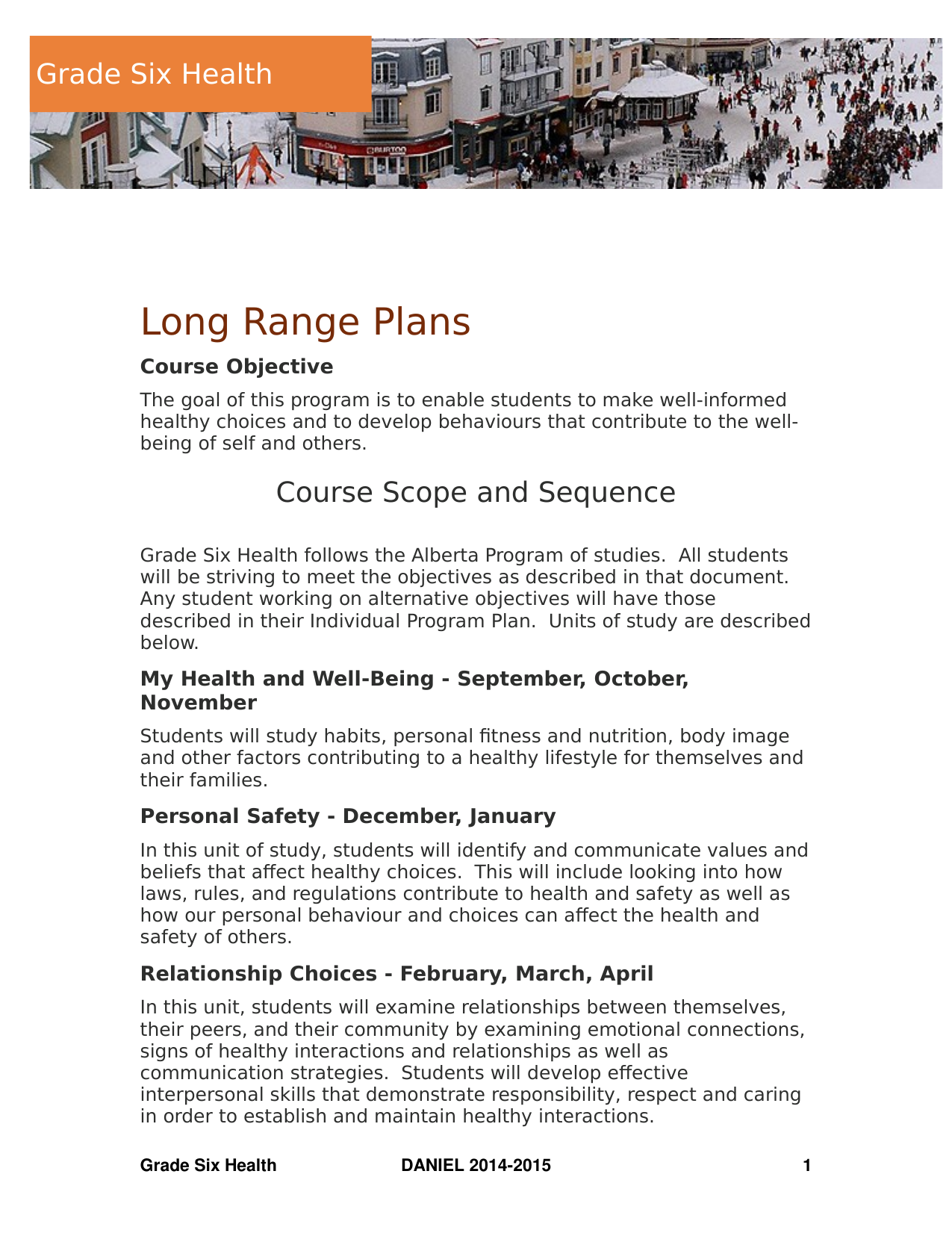 Grade 6 Health Long Range Plans Resource Preview