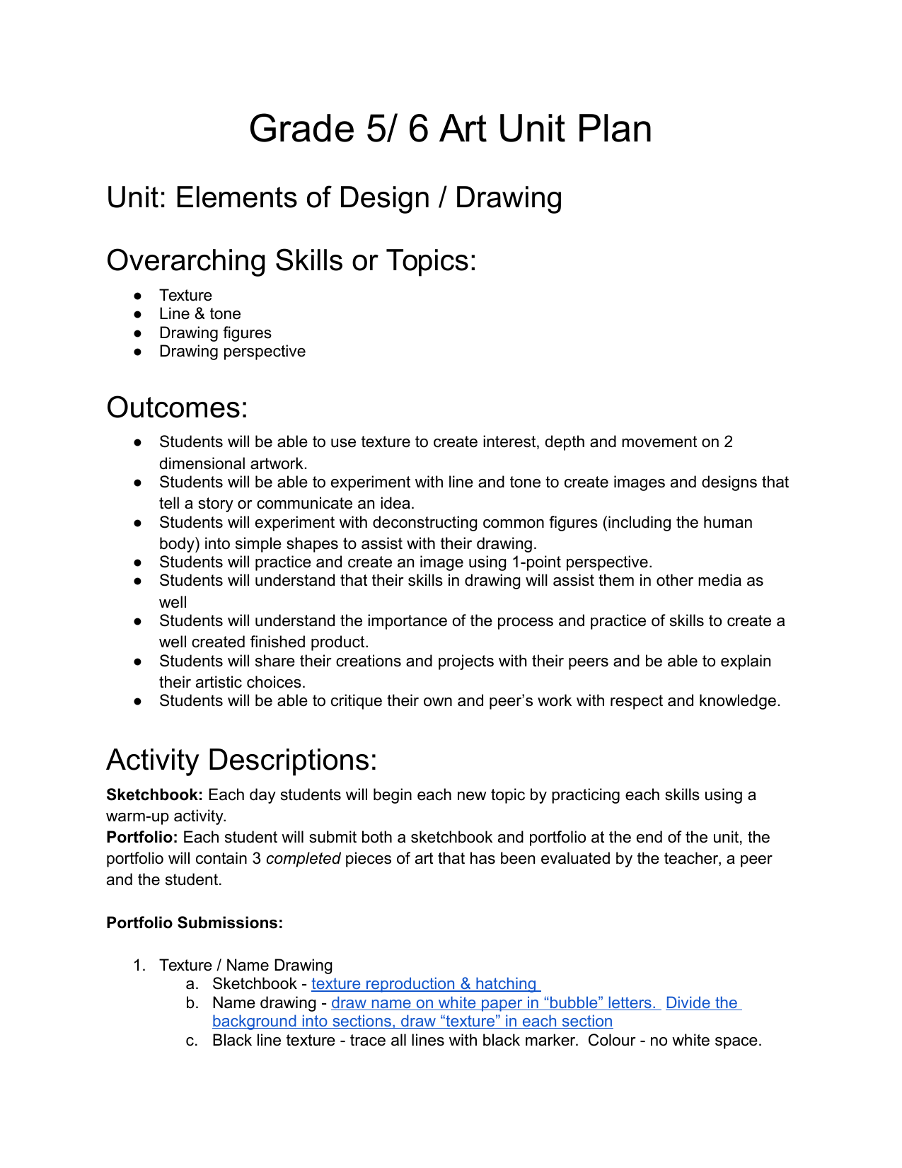 Drawing Unit Plan Resource Preview