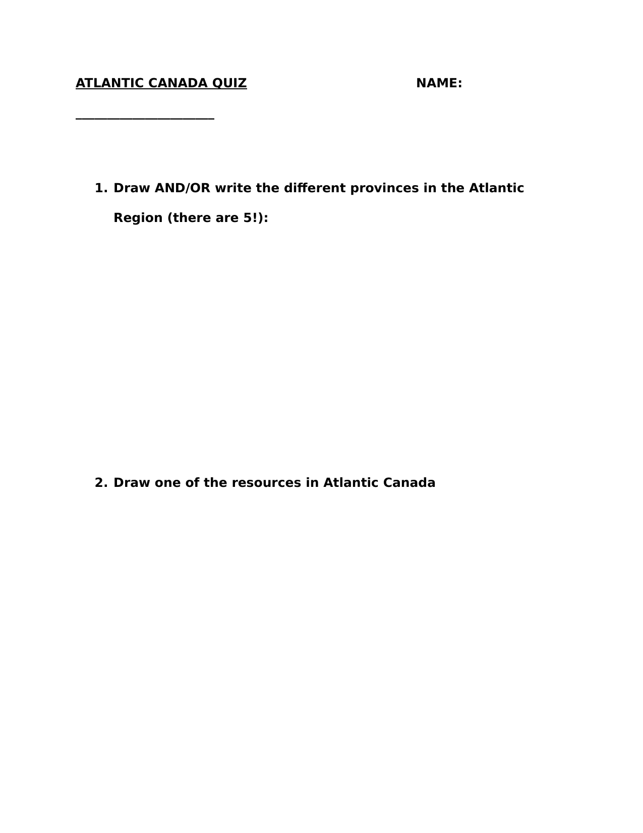 Simplified Atlantic Canada Quiz Resource Preview