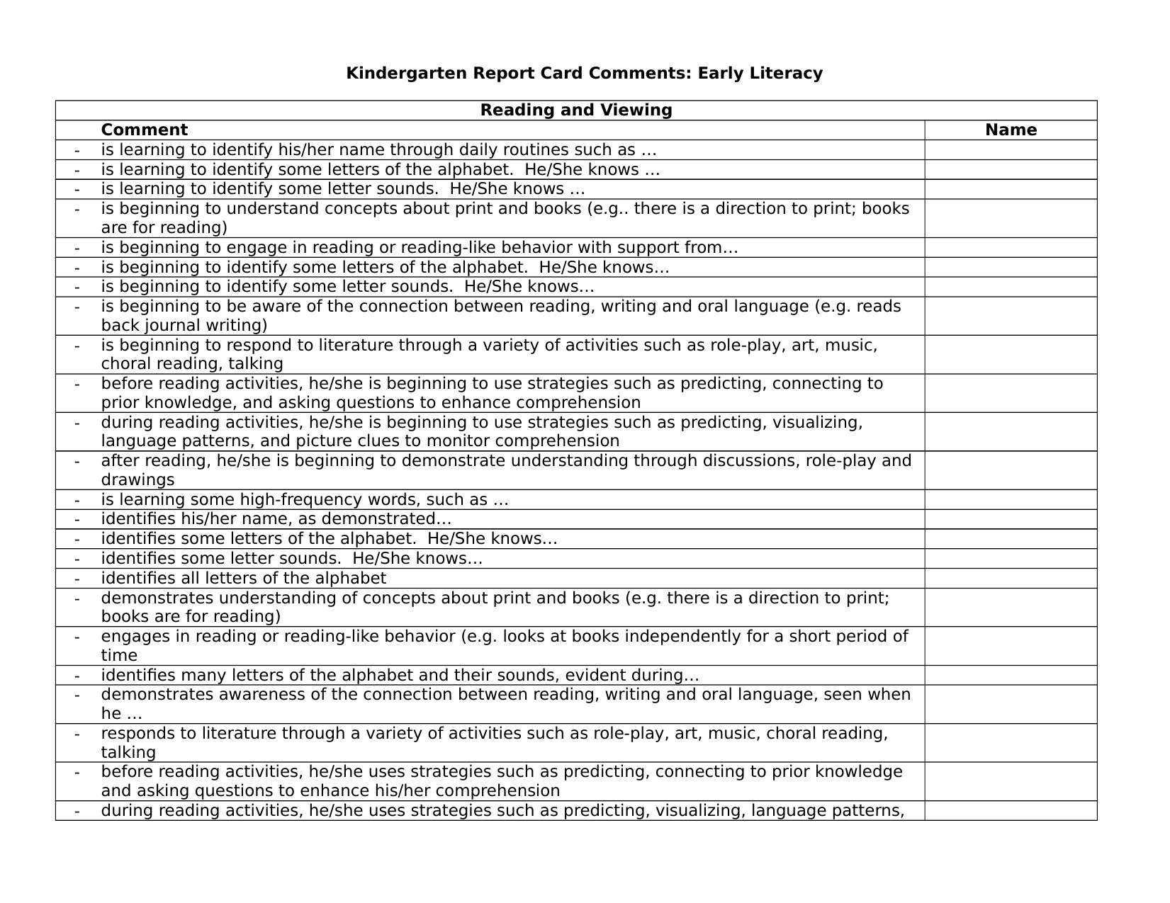 KG Report Card Comments for Early Literacy Resource Preview