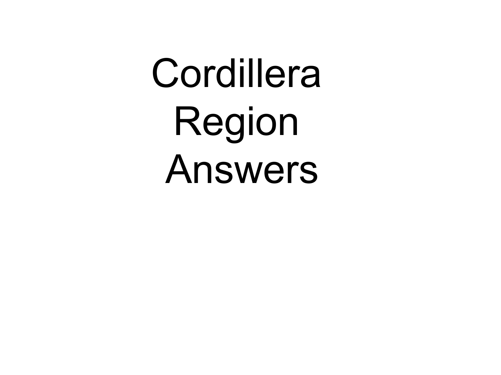 Grade 5 Regions Project Cordillera Answers Resource Preview