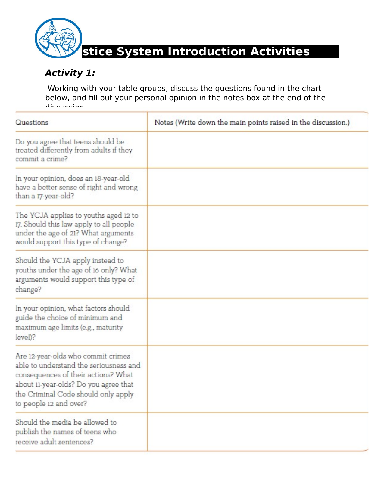 Justice System Introduction Activities  Resource Preview