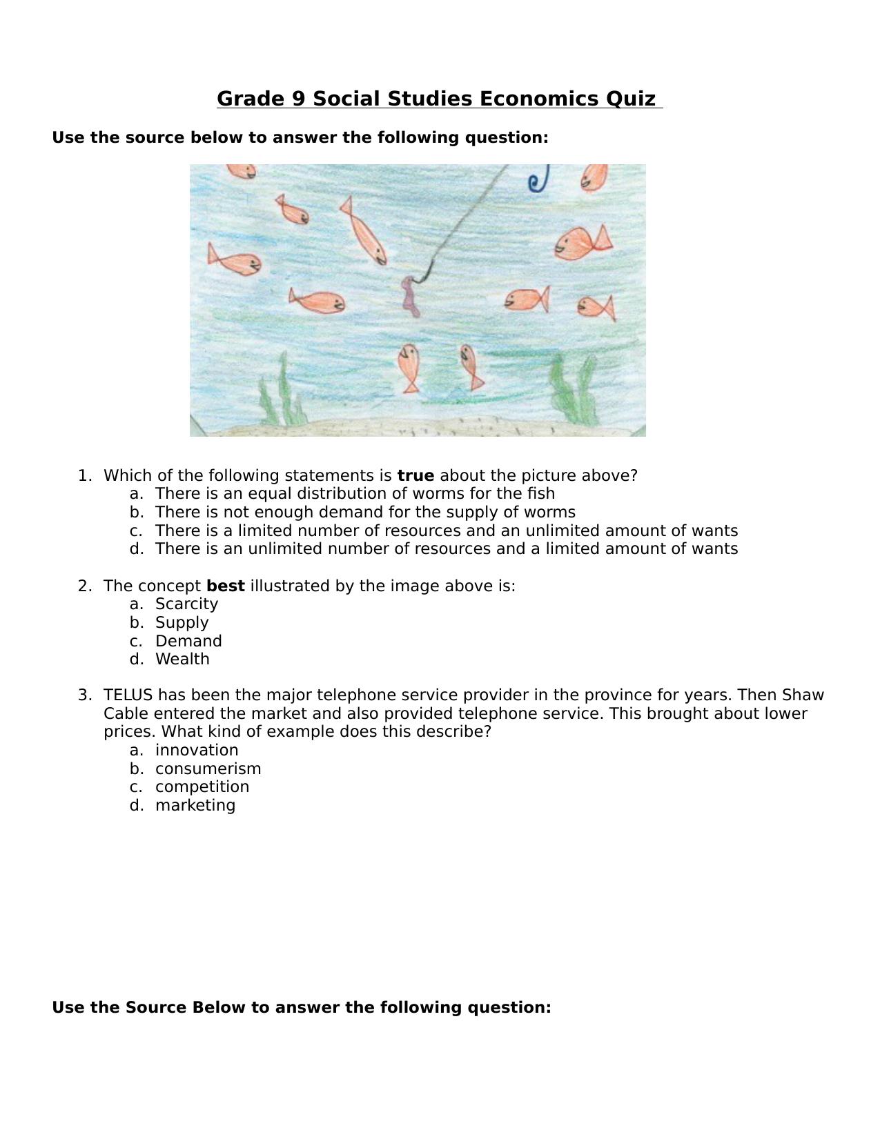 Grade 9 Economics Quiz Resource Preview